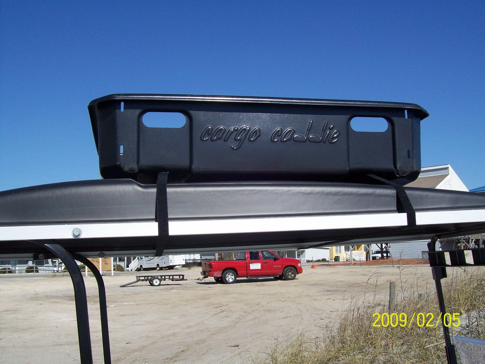 Golf Cart Overhead Storage Tray on non lifted custom carts
