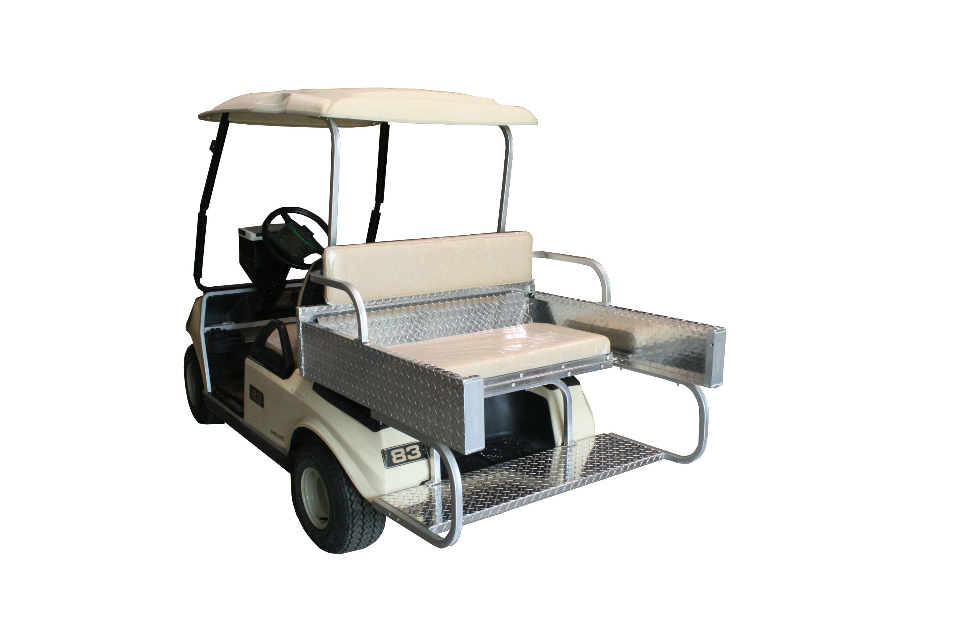 Rear Seat Kit In The Up Position On A Club Car DS One Year Warranty